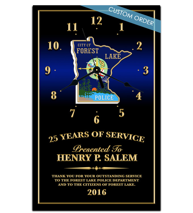 You can add any Patch, Badge, Seal, Logo or Artwork on to these Personalized Clocks.  This is a great recognition!  Law Enforcement, Fire Department, Military, Government, Emergency Service Personalized Clock.