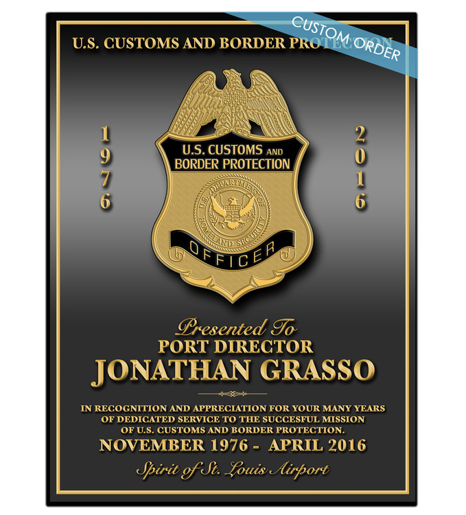 RECOGNITION PLAQUES FOR GOVERNMENT AGENCIES