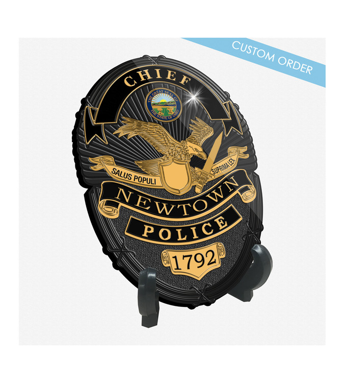 "Patch Plaques can make any Patch, Badge, Seal, Logo or Artwork into a beautiful Wood & Acrylic Desk Plaque.  Cut To Shape! These ""Stunning"" Plaques also come with an Easel stand... Free Shipping and Free Setup!  Law Enforcement Sample."