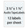 "Audio Tape Labels 3-1/2"" x 1-3/5"" 