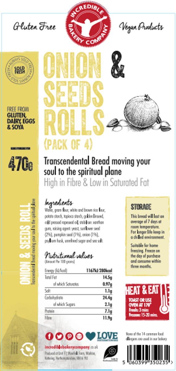 Incredible Onion & Seeds Rolls (4 in a pack)