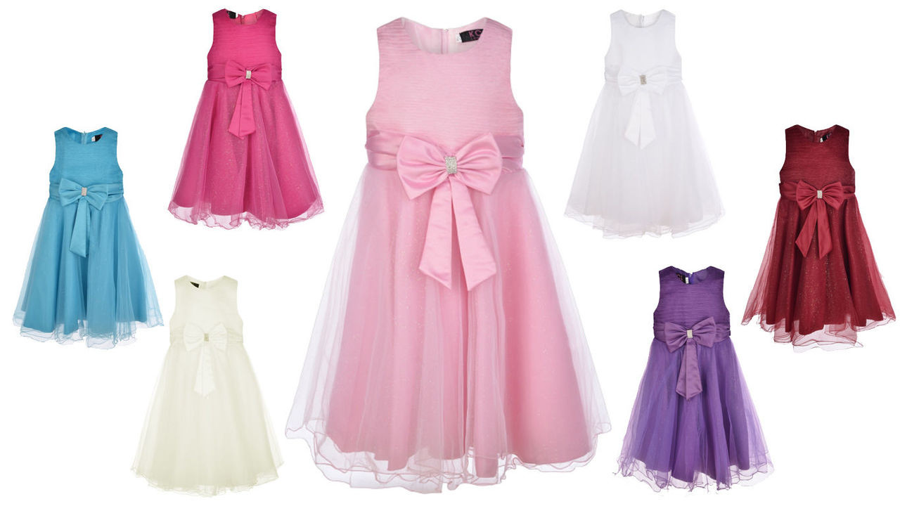 Big Bow Girls Party Dress Multiple Colours