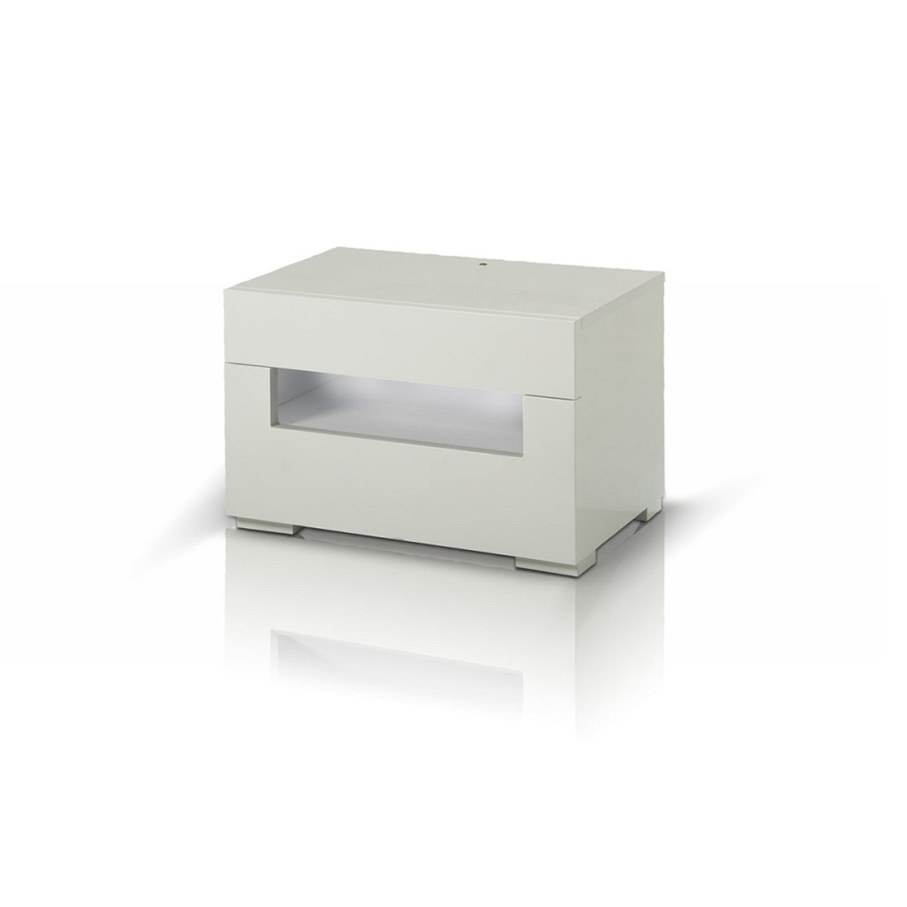 ... Modrest Ceres   Modern LED White Lacquer Nightstand ...