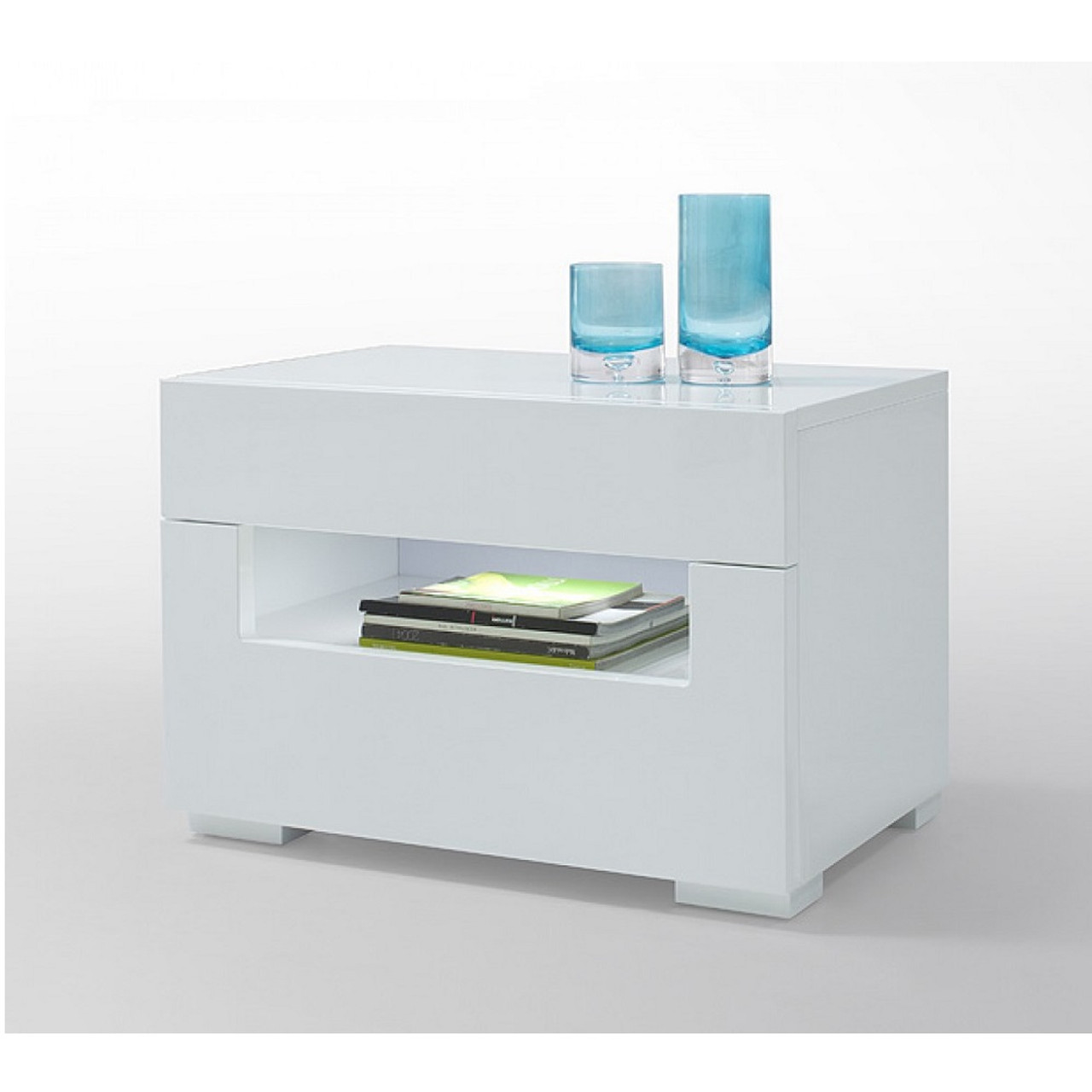 Bon Modrest Ceres   Modern LED White Lacquer Nightstand ...