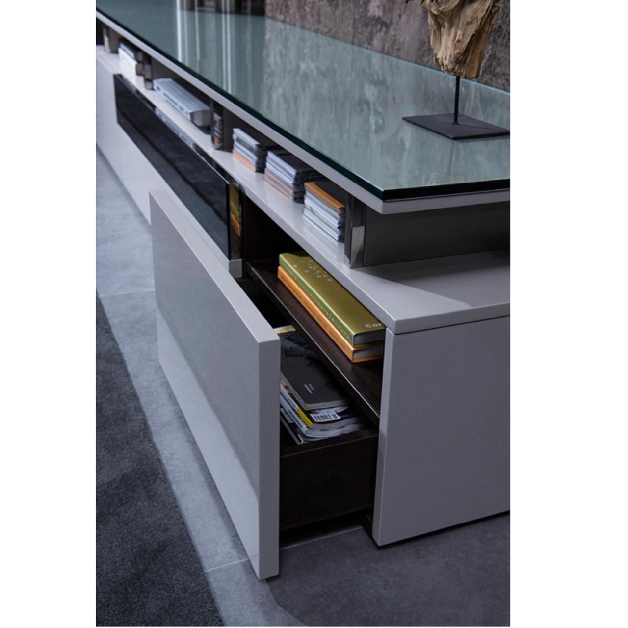 ... Modrest Hurst Contemporary Grey Gloss TV Stand ...
