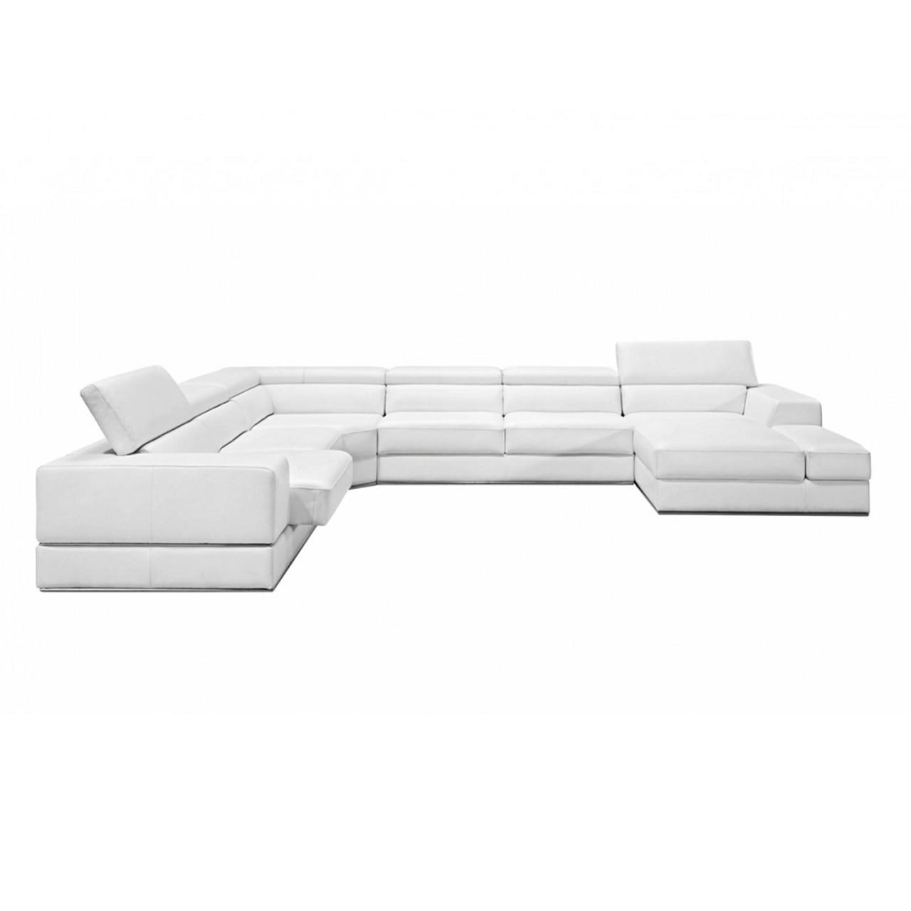 ... Divani Casa Pella Modern White Italian Leather Sectional Sofa ...
