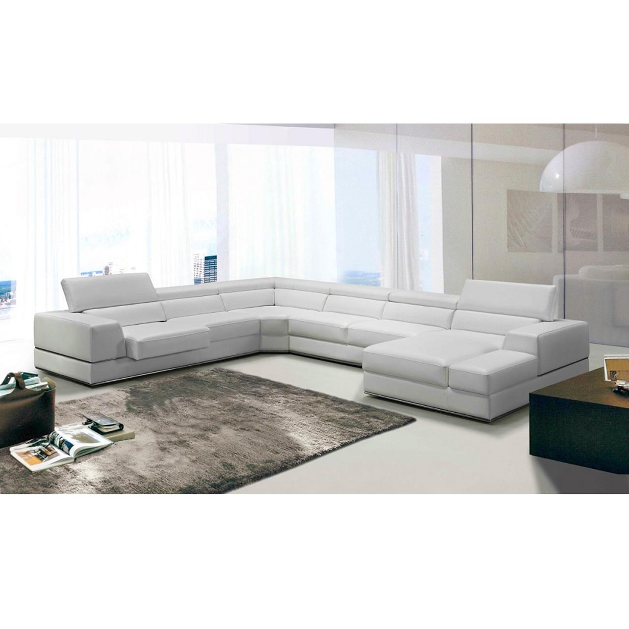 Divani Casa Pella Modern White Italian Leather Sectional Sofa ...