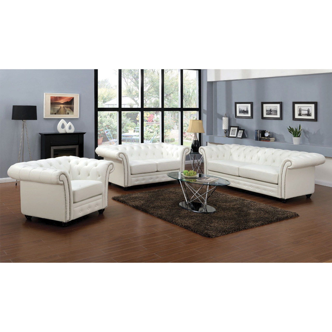 Camden White Bonded Leather Sofa Set ...