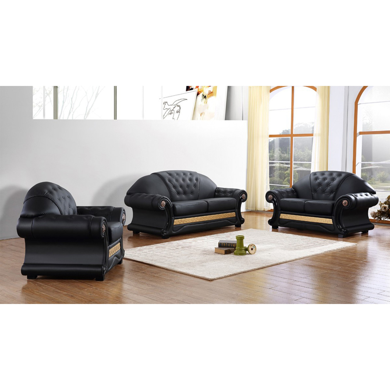 Divani Casa Cleopatra Traditional Black Leather Sofa Set - Lounge LA