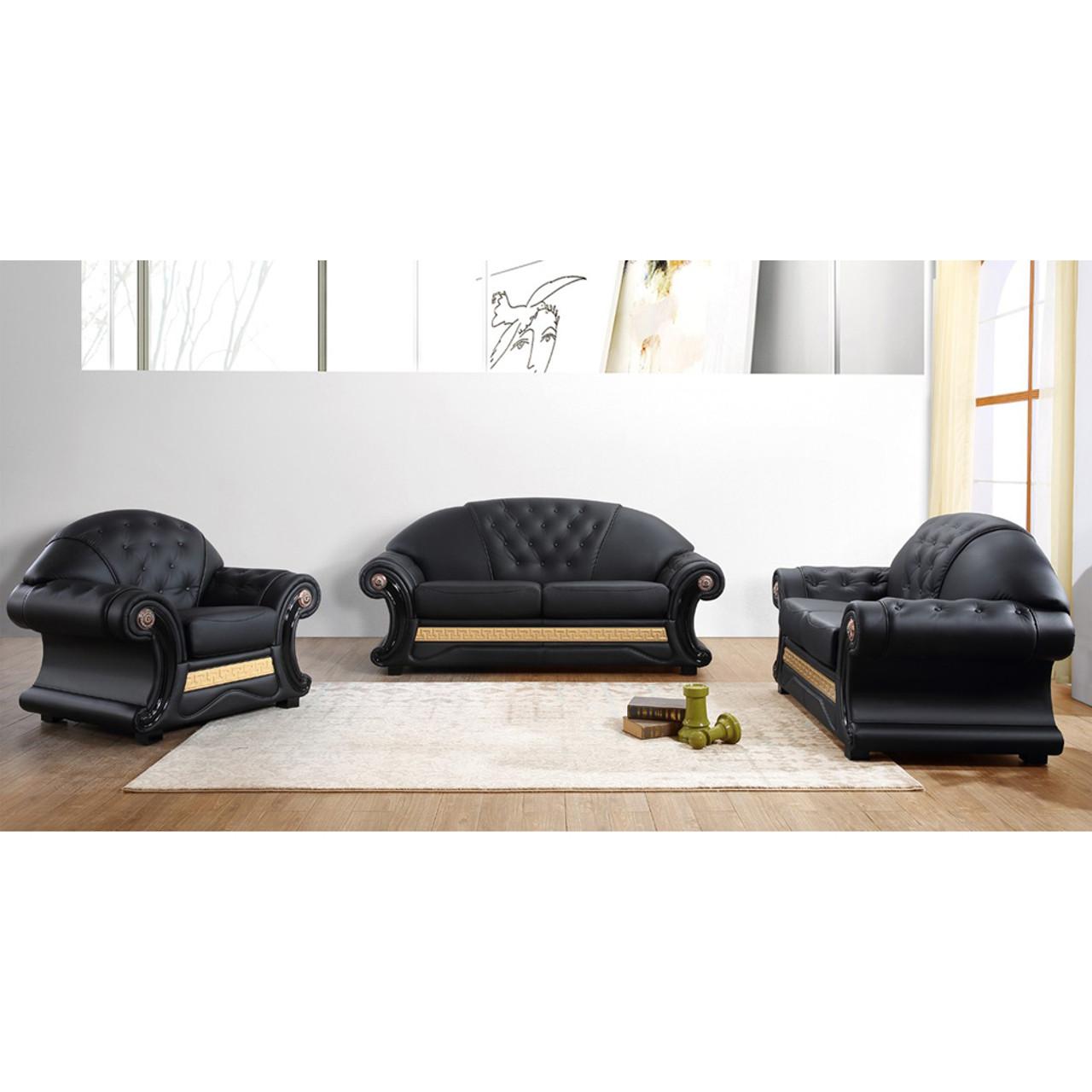 Divani Casa Cleopatra Traditional Black Leather Sofa Set - Lounge LA