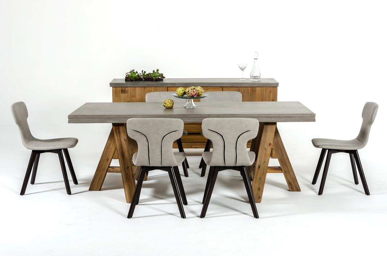 ... Modrest Civic Modern Concrete U0026 Acacia Dining Table