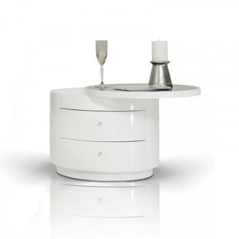 Modrest Symphony - Modern White Round Nightstand