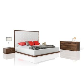 Modrest Beth Modern Walnut with White Leatherette Bedroom Set
