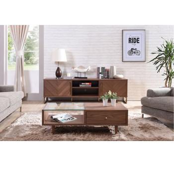 Modrest Chevron Modern Walnut TV Stand