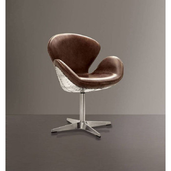 Brancaster Brown Leather Swivel Office Chair I