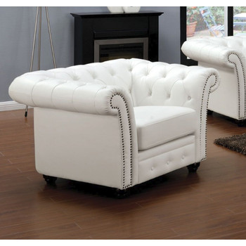 Camden White Bonded Leather Chair ...