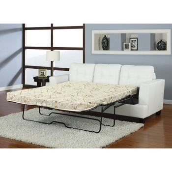 Platinum White Bonded Leather Sofa with Queen Size Sleeper