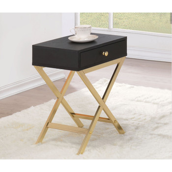 Coleen Black & Brass Side Table