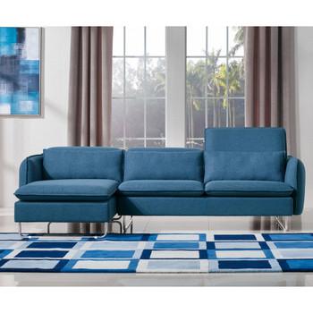 Divani Casa Aleida Modern Blue Fabric Sectional Sofa