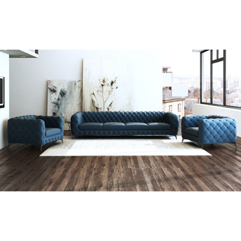 Divani Casa Delilah Modern Blue Sofa & Chair Set
