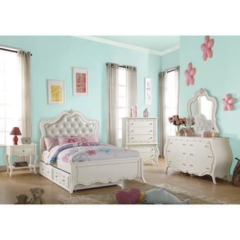 Edalene Pearl White Trundle Bed