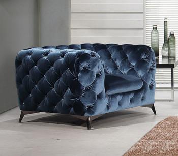Divani Casa Delilah Modern Blue Fabric Chair