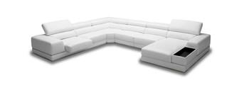 Divani Casa Chrysanthemum - Modern White Eco-Leather Sectional Sofa