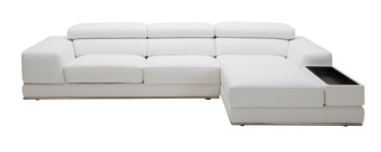 Divani Casa Chrysanthemum Mini Modern White Eco-Leather Sectional Sofa