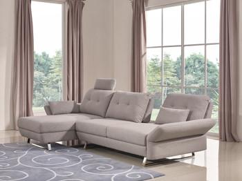 Divani Casa Payne Modern Grey Fabric Sectional Sofa