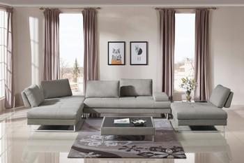 Divani Casa Baxter Modern Grey Fabric Sectional Sofa & Coffee Table Set
