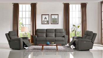Divani Casa Shaw Modern Grey Fabric Sofa Set w/ Recliners