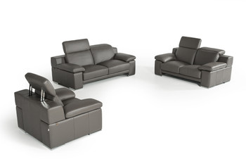 Estro Salotti Evergreen Modern Dark Grey Italian Leather Sofa Set