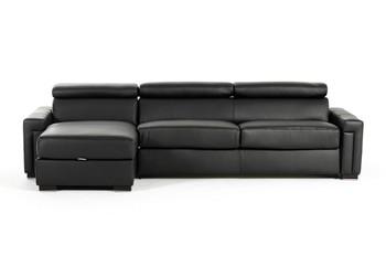 Estro Salotti Sacha Modern Black Leather Reversible Sofa Bed Sectional w/ Storage