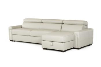 Estro Salotti Sacha Modern Grey Leather Reversible Sofa Bed Sectional w/ Storage