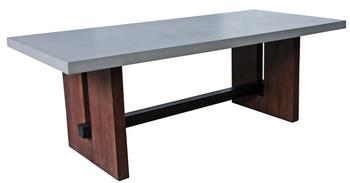 Modrest Amos Modern Concrete & Acacia Dining Table