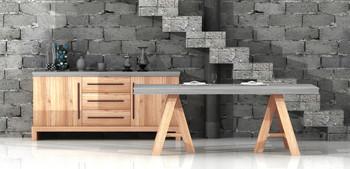 Modrest Civic Modern Concrete & Acacia Dining Table