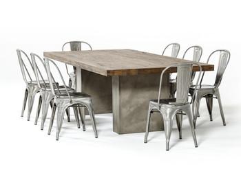 "Modrest Renzo Modern Oak & Concrete 118"" Dining Table"