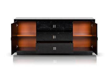 A&X Bellagio - Modern Black Crocodile Lacquer Dresser