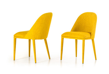 Modrest Brooke Modern Yellow Fabric Dining Chair SET OF 2