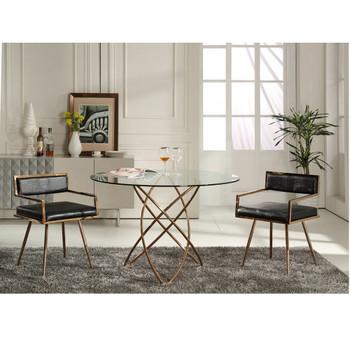 Modrest Rosario Modern Round Rosegold Dining Table