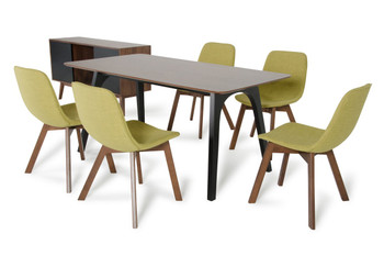 Modrest Laken Modern Walnut & Green Tea Dining Set