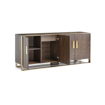Modrest Galant Modern Oak & Antique Brass Buffet