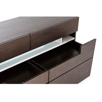 Modrest Ceres - Contemporary Brown Oak and Grey Dresser w/ LED Light