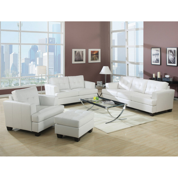Platinum White Bonded Leather Sofa Set ...