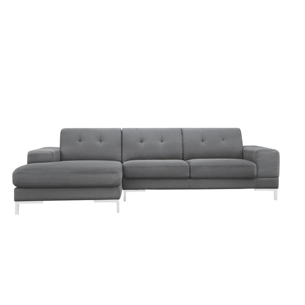 ... Divani Casa Forli Modern Grey Fabric Sectional Sofa W/ Left Facing  Chaise ...