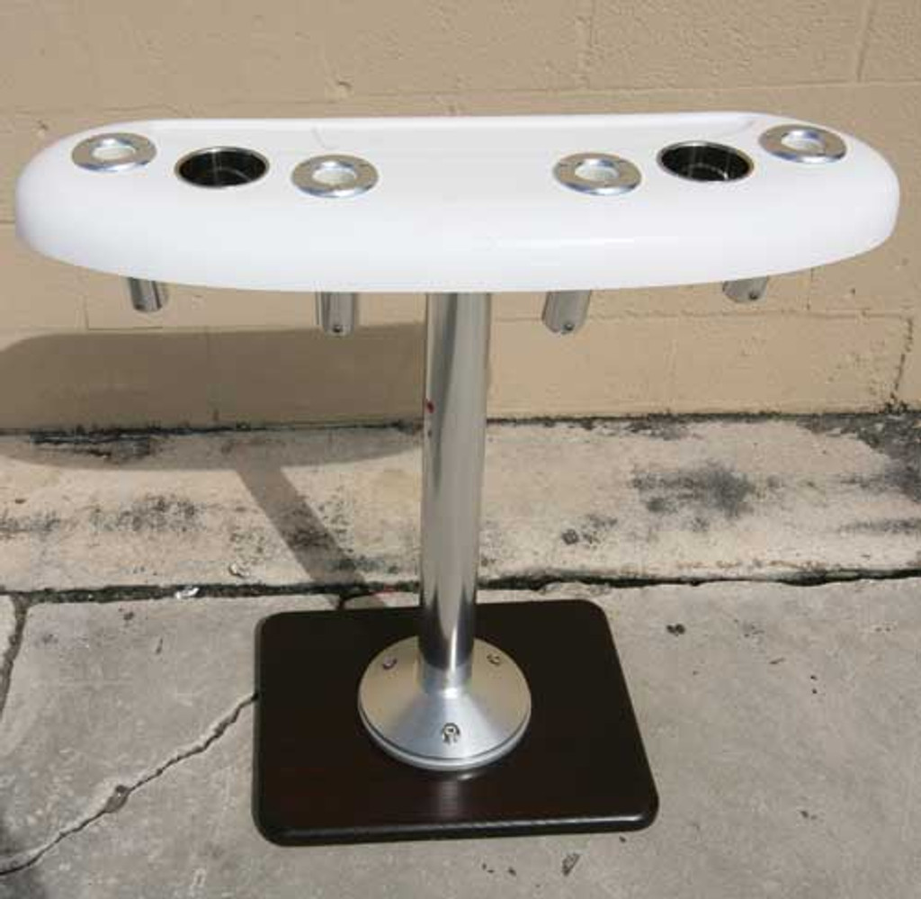 "36"" Recessed Tray, front view. Featuring (4) Birdsall Aluminum rod holders. This unit shows the optional Stainless Steel Drink holders which are a extra charge of $22.95 a piece."