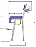Birdsall Marine CAD drawing illustrating our leaning post overall dimensions.