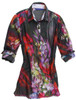 An artists delight! Stunning cotton silk voile with a digital brilliant print. Soft and airy fingertip length tunic, slightly fitted at the waist. Creative and coordinating contrast butterfly pattern inside the collar stand and cuffs. 76 Cotton / 24 Silk