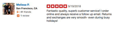 Yelp customer review