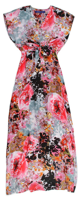 This is the perfect summer Maxi Lounge that will take you from daytime into the evening. A gorgeous print that flows and elegant to wear anytime any place. A deep V Neck with cap sleeves and a tie to cinch in above the waist adds comfort and style.   Side slit on one side from hem line to below the knee. Size 1 XXS/XS  Fits sizes 2-6 Size 2 S/M  Fits sizes 8-10 Size 3 L/XL Fits sizes 12-14